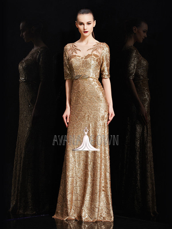 A-line half sleeves sequins floor length formal evening dress