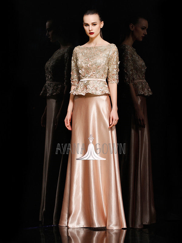 A-line bateau half sleeves appliques peplums design evening dress