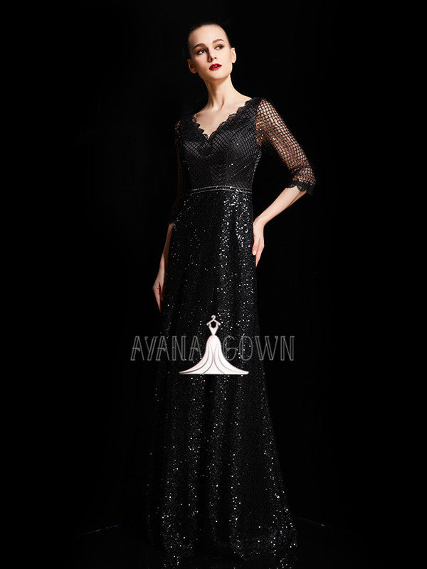 A-line scalloped v-neck sequins mother of the bride dress