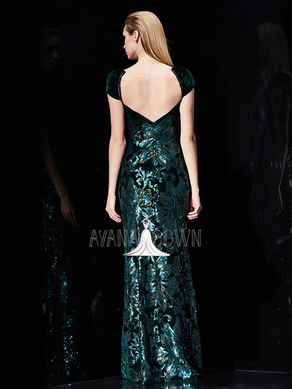Sheath jewel cap sleeves velvet evening dress