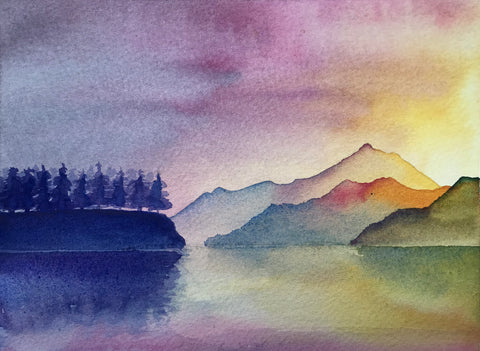 Canoeing on the Johnstone Strait - watercolour number 3