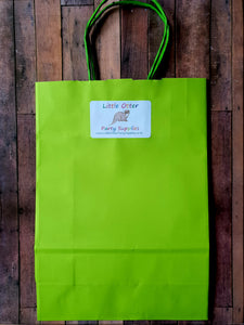Bright Lime Green Paper Party Bag
