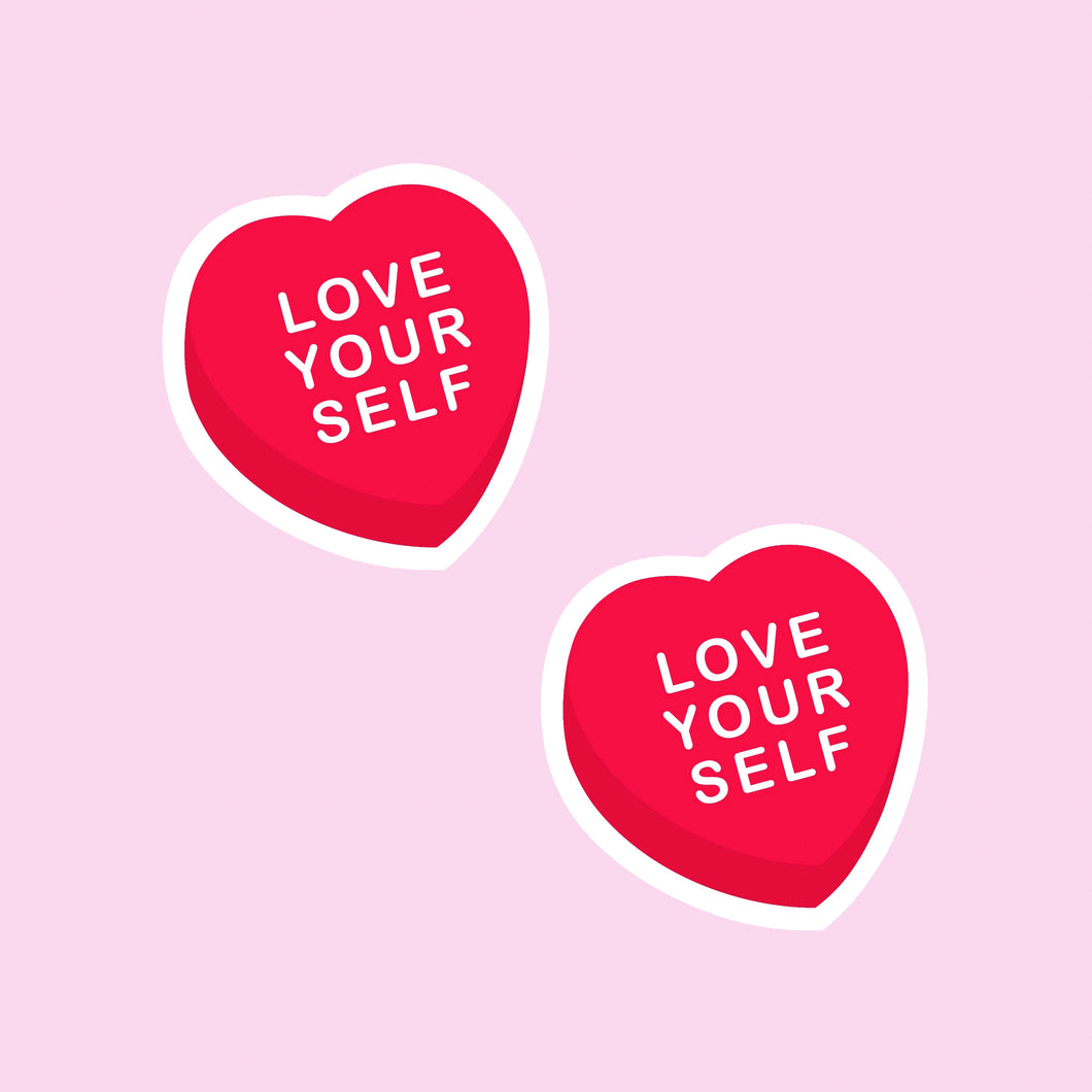 LOVE YOURSELF ❤️ Candy Heart Vinyl Sticker x2