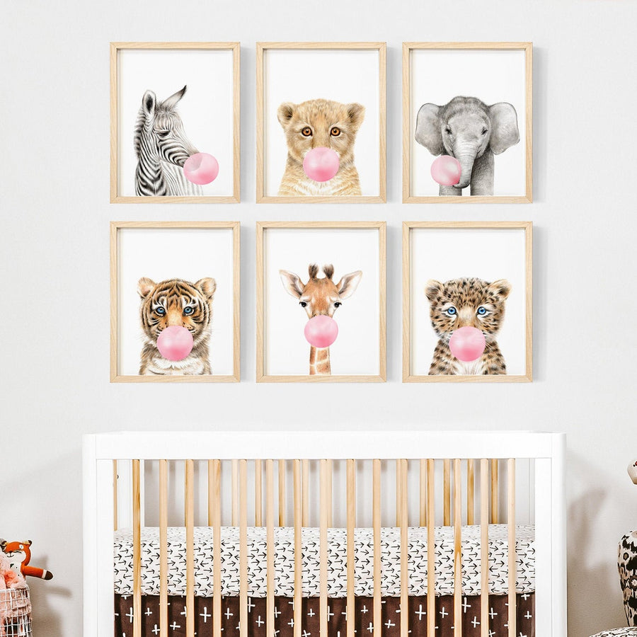 Wall Art- Animal 6 rectangle pink set