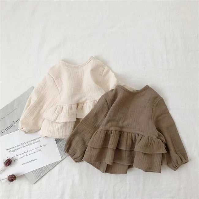 L/S Lovely Linen Organic Cotton Frill Top