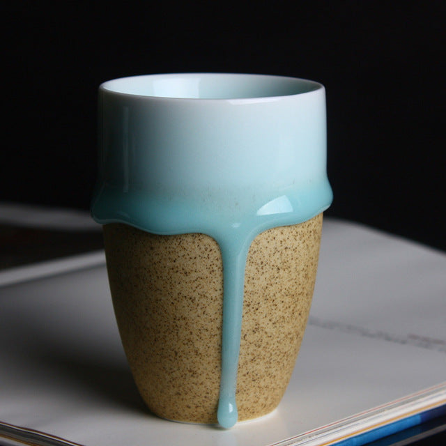 Handmade  Creative  Ceramic Blue Flow Glaze Mug  Round / Irregular   Porcelain Cups White / Brown Coffee Milk Mugs