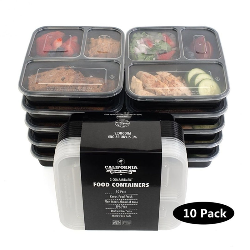 Meal Prep Containers 3 part - 10 pcs set w/ lid