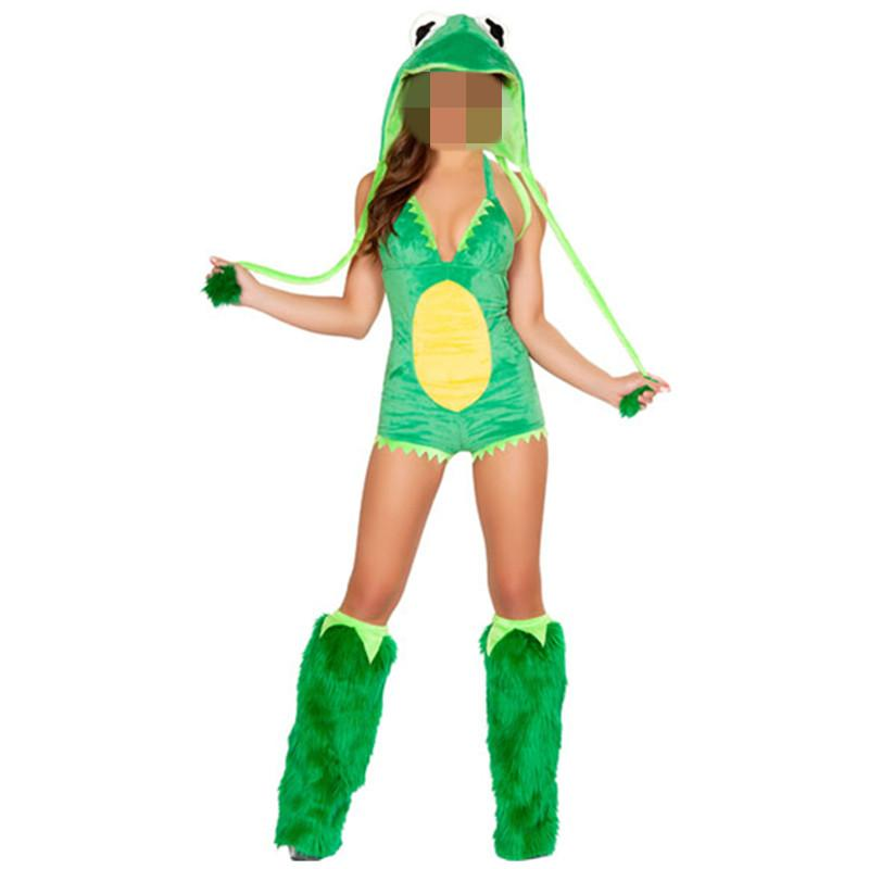 Green Frog Romper with Fur Leg Warmers Rave Costume