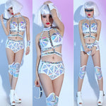 Holographic Rave Fashion Shorts Outfit