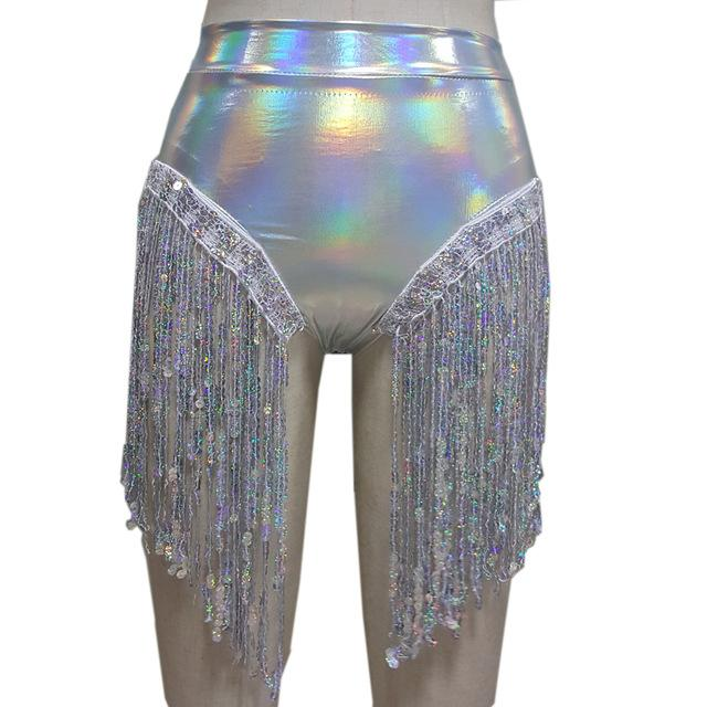 Rave Fashion Silver Tassel Shorts Rave Wear Music Festival Clothing