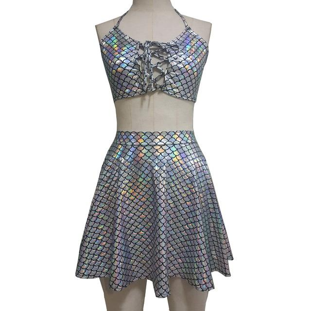 Rave Fashion Mermaid Scale Crop Top and Bottom Set Music Festival Clothing Rave Attire