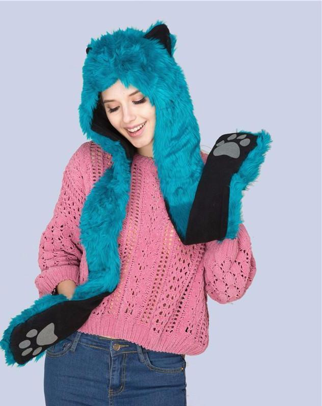Plush Faux Animal Fur Hood Scarf Rave Accessories Festival Accessories