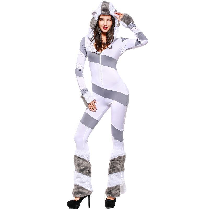 Polar Bear Romper with Tail/Hat/Leg Warmers Rave Costume
