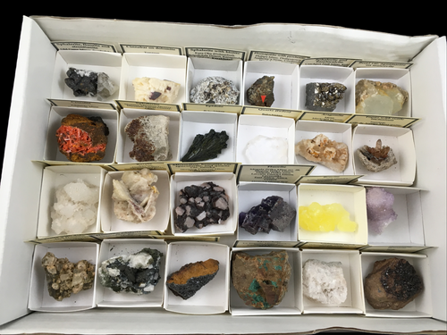 Wholesale flat of 24 worldwide mineral specimens - Alexandria Mineral Shop