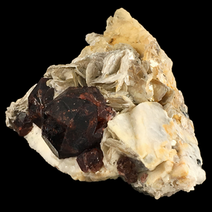 Spessartine garnet on microcline with muscovite; Skardu District, Pakistan - Alexandria Mineral Shop