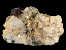 Load image into Gallery viewer, Spessartine garnet on microcline with muscovite; Skardu District, Pakistan - Alexandria Mineral Shop