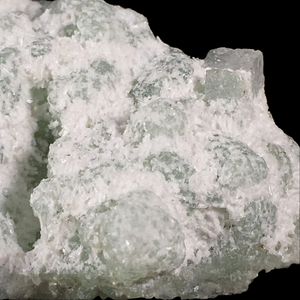 Laumontite on prehnite with apophyllite;  New Street Quarry, New Jersey, USA - Alexandria Mineral Shop