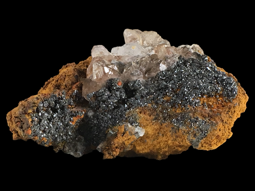 Descloizite with calcite; Preguiça Mine, Portugal - Alexandria Mineral Shop