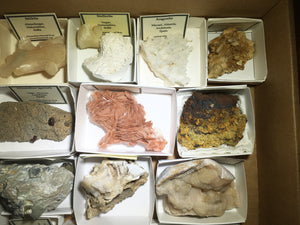 Wholesale flat of 25 worldwide mineral specimens - Alexandria Mineral Shop