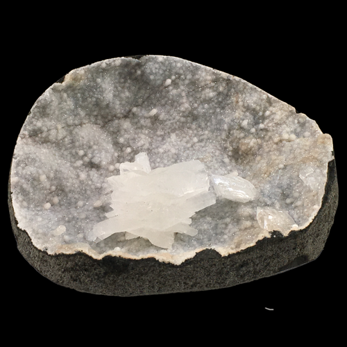 Stilbite on quartz; Ozher, India - Alexandria Mineral Shop