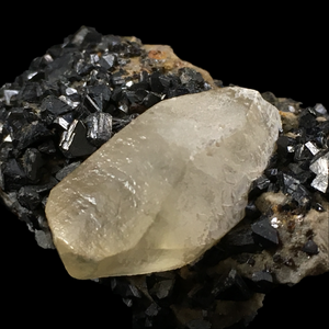 Calcite on sphalerite; Picher, Oklahoma, USA - Alexandria Mineral Shop