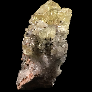 Apatite on quartz and hematite; Cerro de Mercado Mine, Mexico - Alexandria Mineral Shop