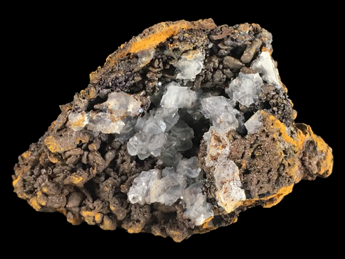 Calcite on goethite with limonite; Trinidad Mine, Spain - Alexandria Mineral Shop