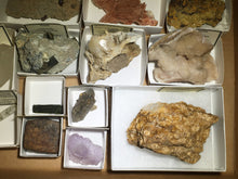 Load image into Gallery viewer, Wholesale flat of 25 worldwide mineral specimens - Alexandria Mineral Shop