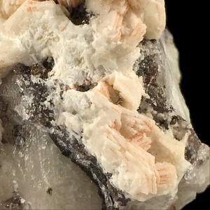 ~Calcite on quartz with smoky quartz; Levant Mine, England, UK - Alexandria Mineral Shop