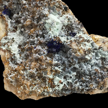Load image into Gallery viewer, Azurite on quartz and turquoise; Sierra Rica, Mexico - Alexandria Mineral Shop