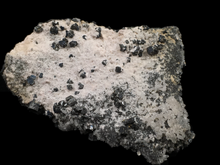 Load image into Gallery viewer, Bournonite on quartz with pyrite; Cerro de Pasco, Peru - Alexandria Mineral Shop