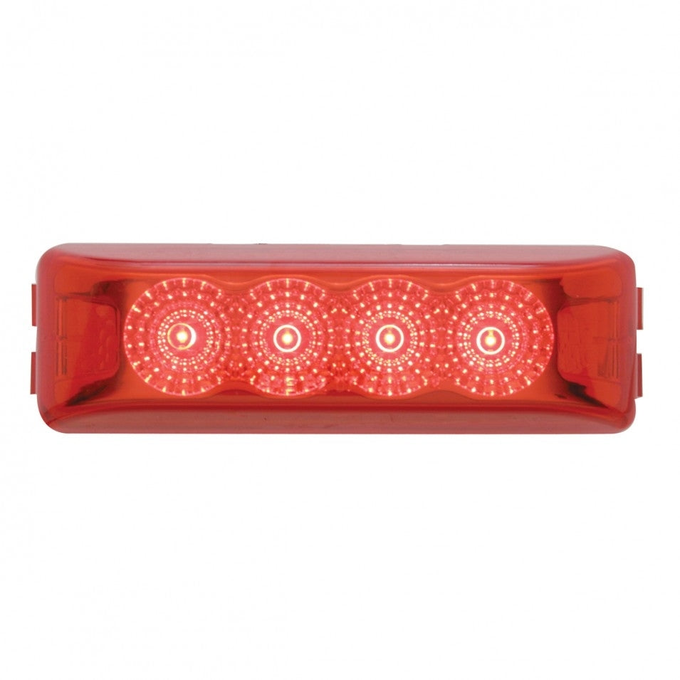 RED 1X4 (4) LED RECT CLIP