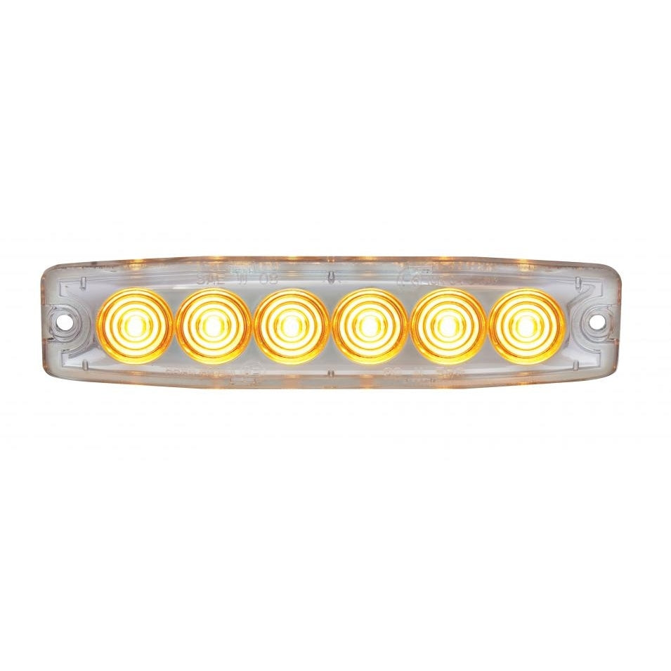 STROBE 6 LED WARNING AMBER/CL