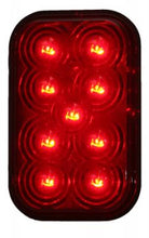 9 LED RED CLEAR RECTANGULAR