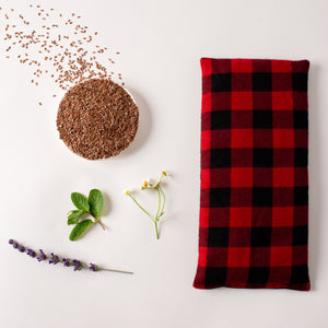 "Whiffy Bean Bag, a microwavable heating pad/ice pack in size large, 12"" x 6"" in a red and black buffalo plaid flannel fabric."