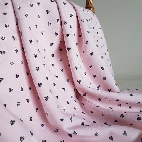 Doodle Hearts Jersey Pink