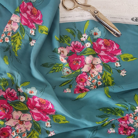 art gallery rayon teal fabric uk