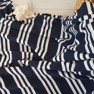 navy and white striped jersey fabric magpie