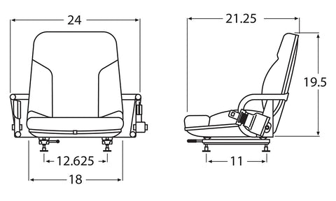 Wise Industrial 9711411400 Caterpillar Style Molded Seat Assembly w/ Hip Restraints & Retractable Belt  - Line Drawing