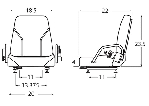 Wise Industrial WM1077 Nissan Style Fold Down Universal Seat Assembly - Line Drawing