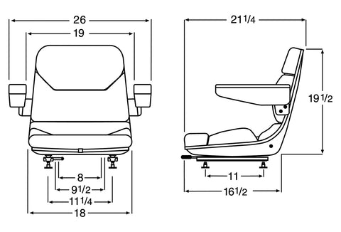 Wise Industrial WM1107 Molded Universal Pan Frame Seat Assembly w/ Arm Rests - Line Drawing