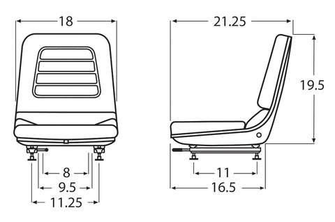 Wise Industrial WM1183A Hyster Style Molded Seat Assembly - Line Drawing