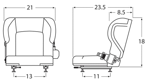 Wise Industrial WM1579 Toyota Style Molded Seat Assembly w/ Retractable Belt - Line Drawing