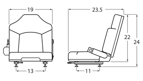 Wise Industrial WM1365 Clark Style Molded Seat Assembly w/ Retractable Belt - Line Drawing
