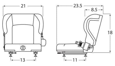 Wise Industrial WM1579 Toyota Style Suspension Seat Assembly w/ Retractable Belt - Line Drawing