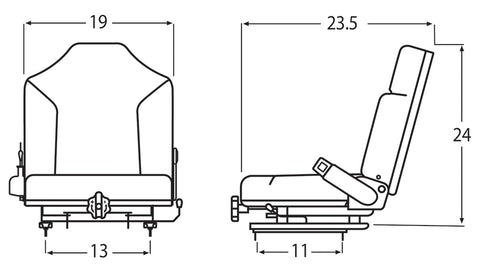 Wise Industrial WM1695 Clark Style Suspension Seat Assembly w/ Retractable Belt - Line Drawing