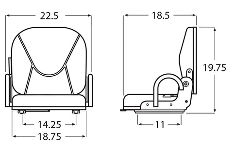Wise Industrial WM1708P Doosan Style Fold Down Seat Assembly w/ Hip Restraints - Line Drawing