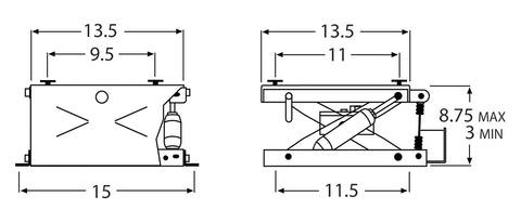 Wise Industrial WM914 Air Powered Seat Suspension - Line Drawing