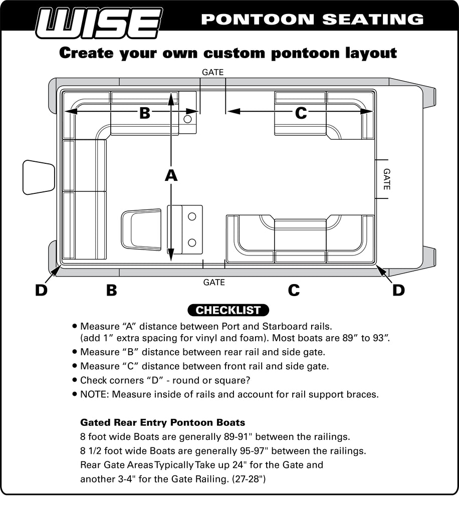 pontoon seating layout guide \u2013 wise seats Outboard Ignition Switch Wiring Diagram
