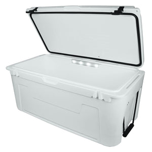 Wise 3332 Ice Cage 105 Qt Cooler w/ LED Illuminated Lid Powered by Lit Technologies- Premium Yeti Style Cooler - Open View